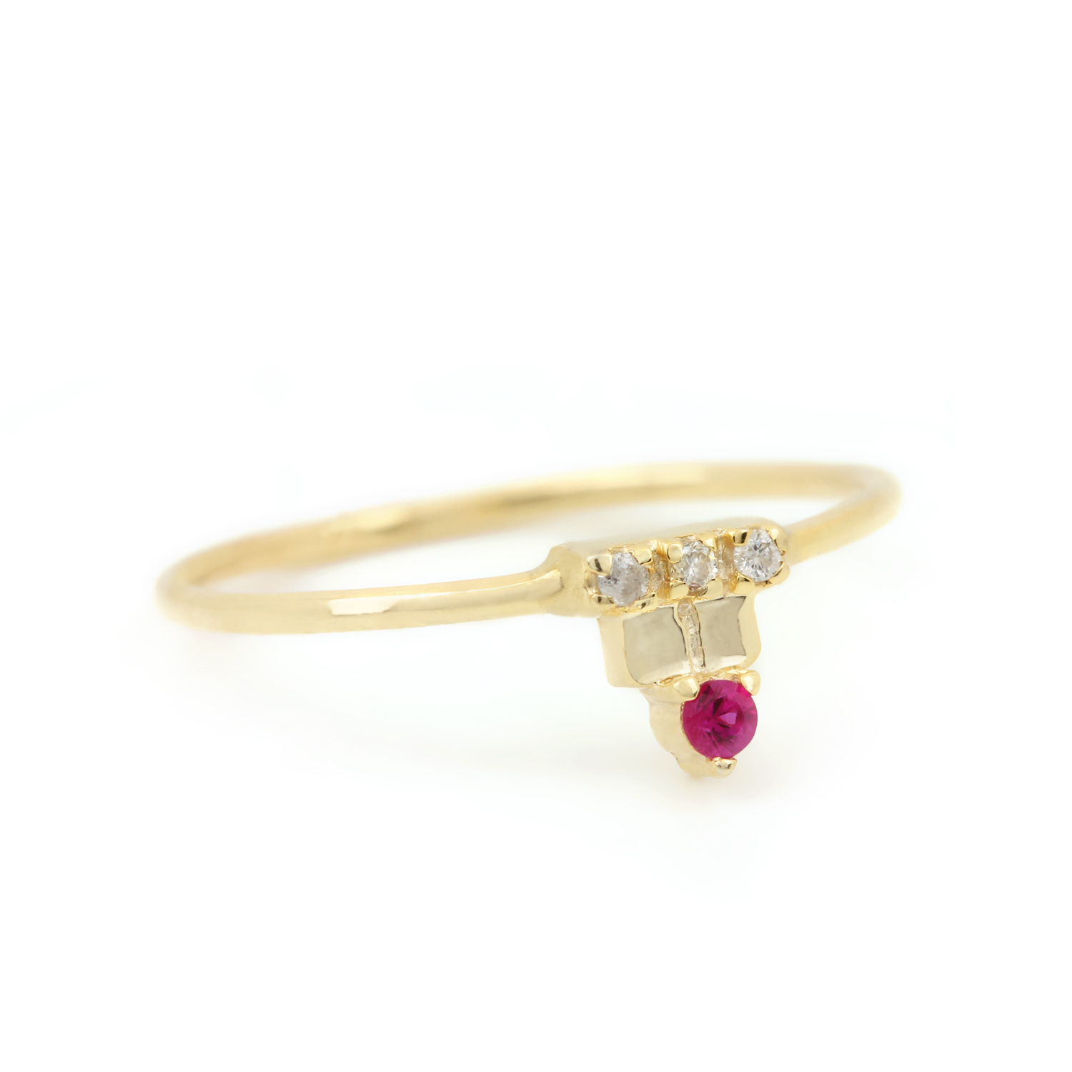 Natural Diamond Ruby Gemstone Ring