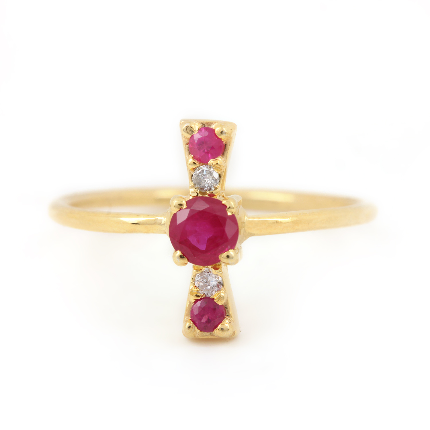 Natural Diamond Solitaire Ruby Ring