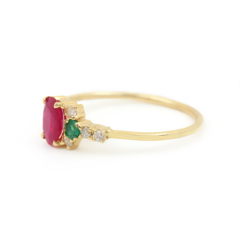 Natural Diamond Ruby & Emerald Ring