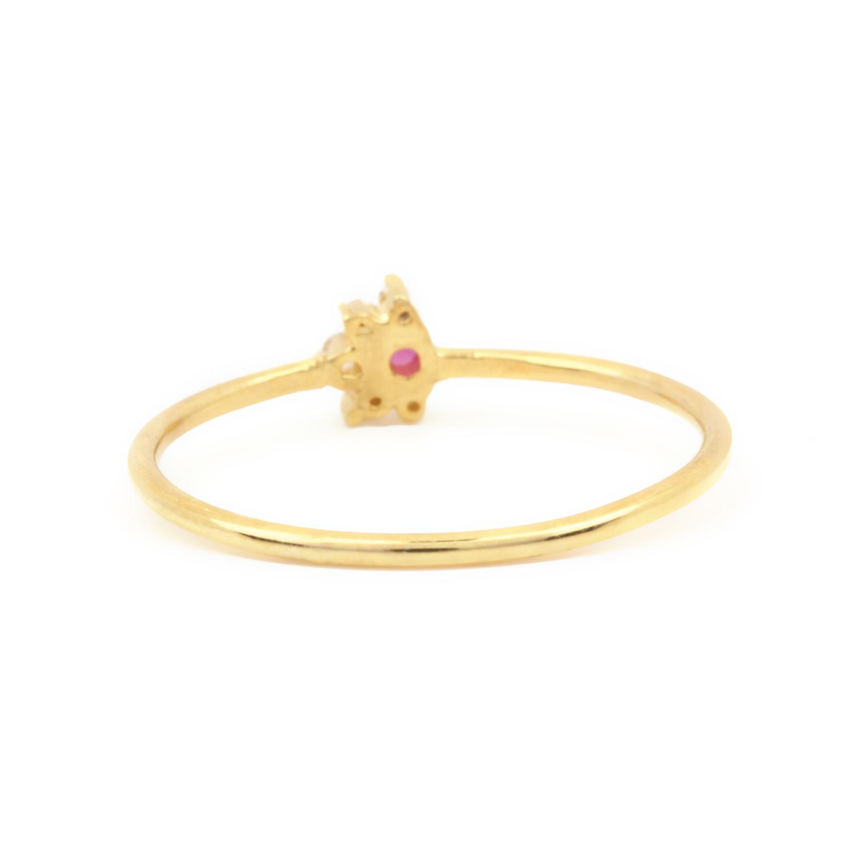 Natural Diamond Ruby Gemstone Ring