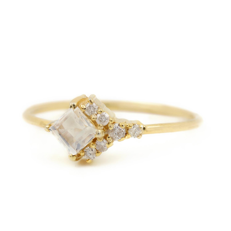 Natural Diamond Rainbow Moonstone Ring